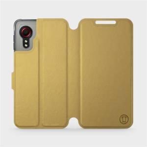 Flipové pouzdro Mobiwear na mobil Samsung Galaxy Xcover 5 v provedení C_GOP Gold&Orange s oranžovým vnitřkem
