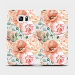 Flip pouzdro Mobiwear na mobil Samsung Galaxy S6 - MP02S Pastelové květy