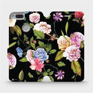 Flipové pouzdro Mobiwear na mobil Xiaomi Mi A1 - VD07S Růže a květy na černém pozadí