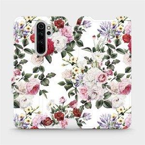 Flipové pouzdro Mobiwear na mobil Xiaomi Redmi Note 8 Pro - MD01S Růže na bílé