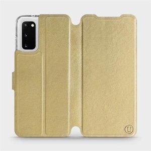 Flipové pouzdro Mobiwear na mobil Samsung Galaxy S20 v provedení C_GOP Gold&Orange s oranžovým vnitřkem