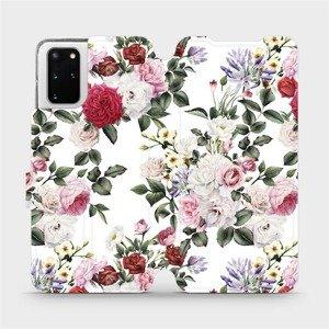 Flipové pouzdro Mobiwear na mobil Samsung Galaxy S20 Plus - MD01S Růže na bílé
