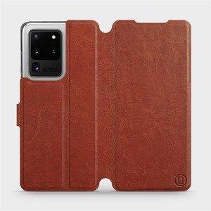 Flipové pouzdro Mobiwear na mobil Samsung Galaxy S20 Ultra v provedení C_BRP Brown&Orange s oranžovým vnitřkem
