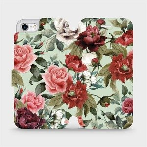 Flipové pouzdro Mobiwear na mobil Apple iPhone SE 2020 - MD06P Růže a květy na světle zeleném pozadí