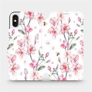 Flipové pouzdro Mobiwear na mobil Apple iPhone X - M124S Růžové květy