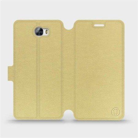 Parádní flip pouzdro Mobiwear na mobil Huawei Y6 II Compact v provedení C_GOP Gold&Orange s oranžovým vnitřkem