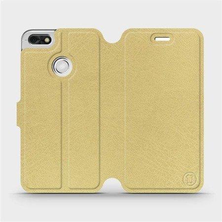 Parádní flip pouzdro Mobiwear na mobil Huawei P9 Lite mini v provedení C_GOS Gold&Gray s šedým vnitřkem