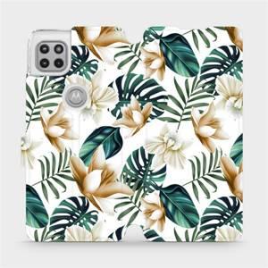 Flipové pouzdro Mobiwear na mobil Motorola Moto G 5G - MC07P Zlatavé květy a zelené listy