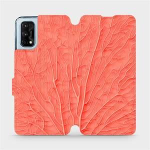 Flipové pouzdro Mobiwear na mobil Realme 7 Pro - MK06S Oranžový vzor listu - výprodej