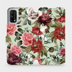 Flipové pouzdro Mobiwear na mobil Realme 7 5G - MD06P Růže a květy na světle zeleném pozadí