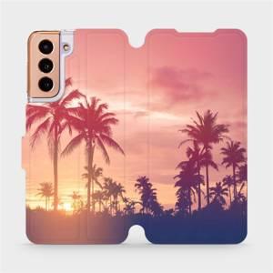 Flipové pouzdro Mobiwear na mobil Samsung Galaxy S21 5G - M134P Palmy a růžová obloha