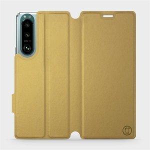 Flip pouzdro Mobiwear na mobil Sony Xperia 5 III v provedení C_GOS Gold&Gray s šedým vnitřkem
