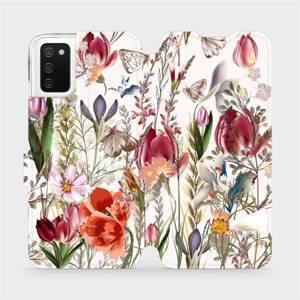 Flip pouzdro Mobiwear na mobil Samsung Galaxy A02S - MP01S Rozkvetlá louka