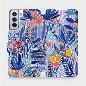 Flip pouzdro Mobiwear na mobil Samsung Galaxy S21 Plus - MP03P Modrá květena