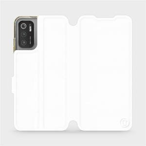 Flip pouzdro Mobiwear na mobil Xiaomi Poco M3 Pro 5G v provedení C_WHP White&Orange s oranžovým vnitřkem