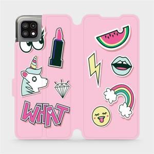 Flip pouzdro Mobiwear na mobil Samsung Galaxy A22 5G - M129S Růžové WHAT - výprodej