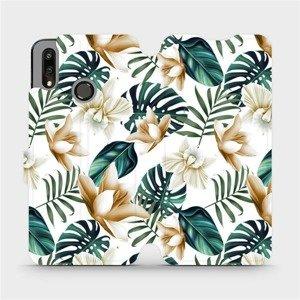 Flipové pouzdro Mobiwear na mobil Huawei P Smart 2019 - MC07P Zlatavé květy a zelené listy