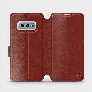 Flipové pouzdro Mobiwear na mobil Samsung Galaxy S10e v provedení C_BRS Brown&Gray s šedým vnitřkem
