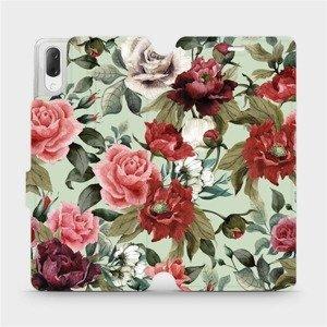 Flipové pouzdro Mobiwear na mobil Sony Xperia L3 - MD06P Růže a květy na světle zeleném pozadí