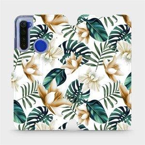 Flipové pouzdro Mobiwear na mobil Xiaomi Redmi Note 8T - MC07P Zlatavé květy a zelené listy