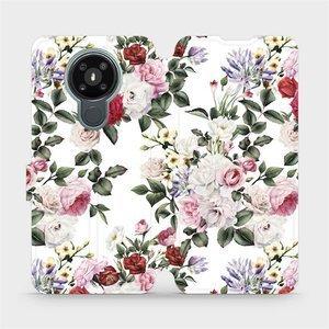 Flipové pouzdro Mobiwear na mobil Nokia 3.4 - MD01S Růže na bílé