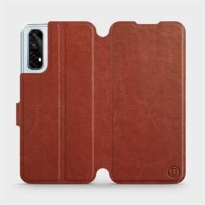 Flipové pouzdro Mobiwear na mobil Realme 7 v provedení C_BRP Brown&Orange s oranžovým vnitřkem