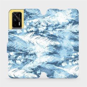 Flipové pouzdro Mobiwear na mobil Realme GT 5G - M058S Světle modrá horizontální pírka