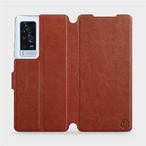 Flip pouzdro Mobiwear na mobil Vivo X60 Pro 5G v provedení C_BRP Brown&Orange s oranžovým vnitřkem