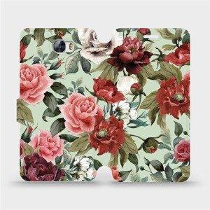 Flipové pouzdro Mobiwear na mobil Huawei Y5 II - MD06P Růže a květy na světle zeleném pozadí
