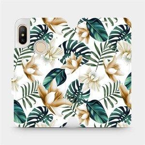 Flipové pouzdro Mobiwear na mobil Xiaomi Mi A2 Lite - MC07P Zlatavé květy a zelené listy