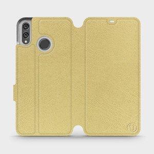 Flipové pouzdro Mobiwear na mobil Honor 8X v provedení C_GOS Gold&Gray s šedým vnitřkem