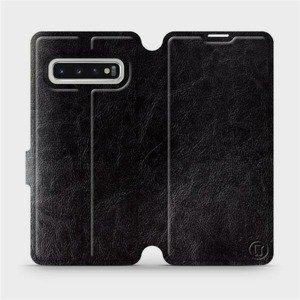 Flipové pouzdro Mobiwear na mobil Samsung Galaxy S10 v provedení C_BLS Black&Gray s šedým vnitřkem