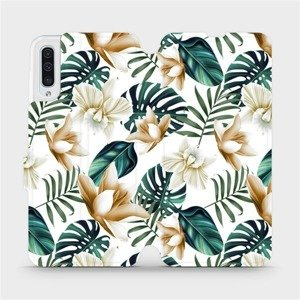 Flipové pouzdro Mobiwear na mobil Samsung Galaxy A50 - MC07P Zlatavé květy a zelené listy