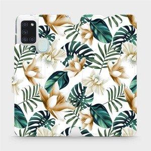 Flipové pouzdro Mobiwear na mobil Samsung Galaxy A21S - MC07P Zlatavé květy a zelené listy