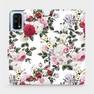 Flipové pouzdro Mobiwear na mobil Realme 7 Pro - MD01S Růže na bílé