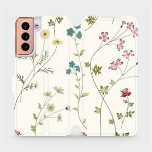 Flipové pouzdro Mobiwear na mobil Samsung Galaxy S21 5G - MD03S Tenké rostlinky s květy