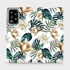 Flipové pouzdro Mobiwear na mobil Samsung Galaxy A52 5G / LTE - MC07P Zlatavé květy a zelené listy