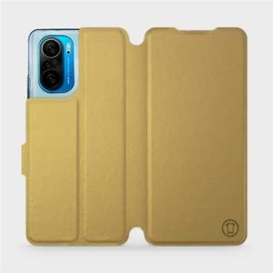 Flipové pouzdro Mobiwear na mobil Xiaomi Mi 11i / Xiaomi Poco F3 v provedení C_GOP Gold&Orange s oranžovým vnitřkem