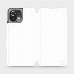 Flip pouzdro Mobiwear na mobil Xiaomi 11 Lite 5G NE v provedení C_WHP White&Orange s oranžovým vnitřkem