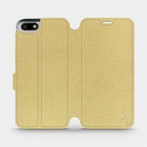 Flipové pouzdro Mobiwear na mobil Honor 7S v provedení C_GOS Gold&Gray s šedým vnitřkem