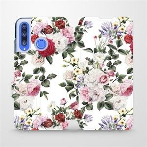 Flipové pouzdro Mobiwear na mobil Honor 20 Lite - MD01S Růže na bílé