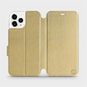 Flipové pouzdro Mobiwear na mobil Apple iPhone 11 Pro v provedení C_GOS Gold&Gray s šedým vnitřkem