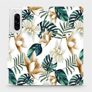 Flipové pouzdro Mobiwear na mobil Sony Xperia 5 - MC07P Zlatavé květy a zelené listy