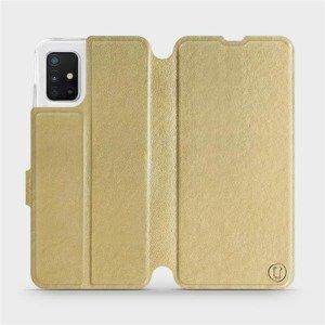Flipové pouzdro Mobiwear na mobil Samsung Galaxy A51 v provedení C_GOS Gold&Gray s šedým vnitřkem