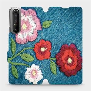 Flipové pouzdro Mobiwear na mobil Sony Xperia 1 II - MD05P Džínové květy