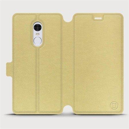 Parádní flip pouzdro Mobiwear na mobil Xiaomi Redmi Note 4 Global v provedení C_GOP Gold&Orange s oranžovým vnitřkem