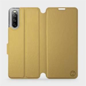 Flip pouzdro Mobiwear na mobil Sony Xperia 10 III v provedení C_GOP Gold&Orange s oranžovým vnitřkem
