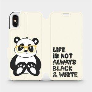 Flipové pouzdro Mobiwear na mobil Apple iPhone X - M041S Panda - life is not always black and white