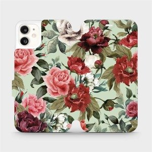 Flipové pouzdro Mobiwear na mobil Apple iPhone 11 - MD06P Růže a květy na světle zeleném pozadí