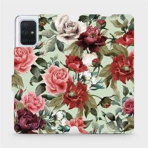 Flipové pouzdro Mobiwear na mobil Samsung Galaxy A71 - MD06P Růže a květy na světle zeleném pozadí